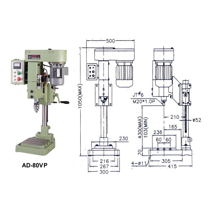 Auto Step Retract Drilling Machine with Air-Hydro Tool Feed-AD-80VSP