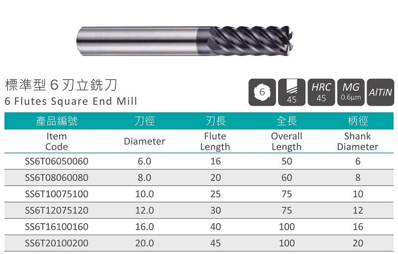 6 Flutes Square End Mill-SS6T