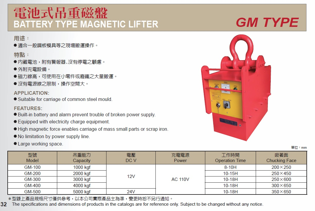 [Guang Dar Magnet Ind.] GM Battery Type Magnetic Lifter