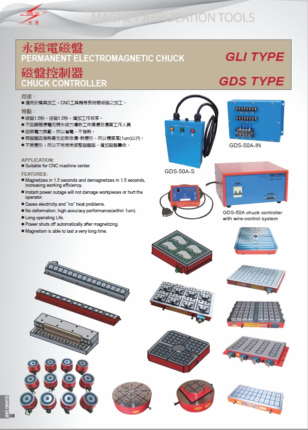 [Guang Dar Magnet Ind.] GLI Permanent Electromagnetic Chuck